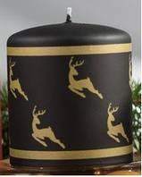 Свеча цилиндр золотые олени 80х90мм. 1шт. Цвет черный