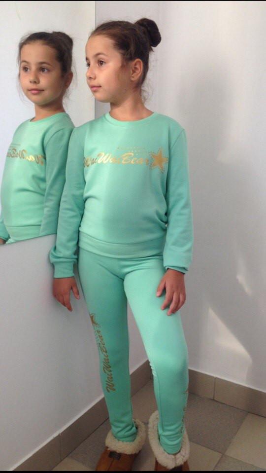 """Теплая детская толстовка на флисе для девочки """"WaiWaiBear"""" с золотым принтом (4 цвета)"""