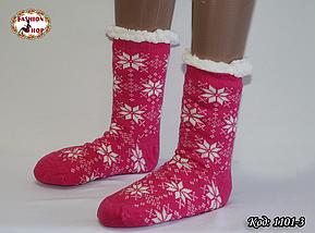 Женские шерстяные носки Снежинка с силиконовой подошвой , фото 2