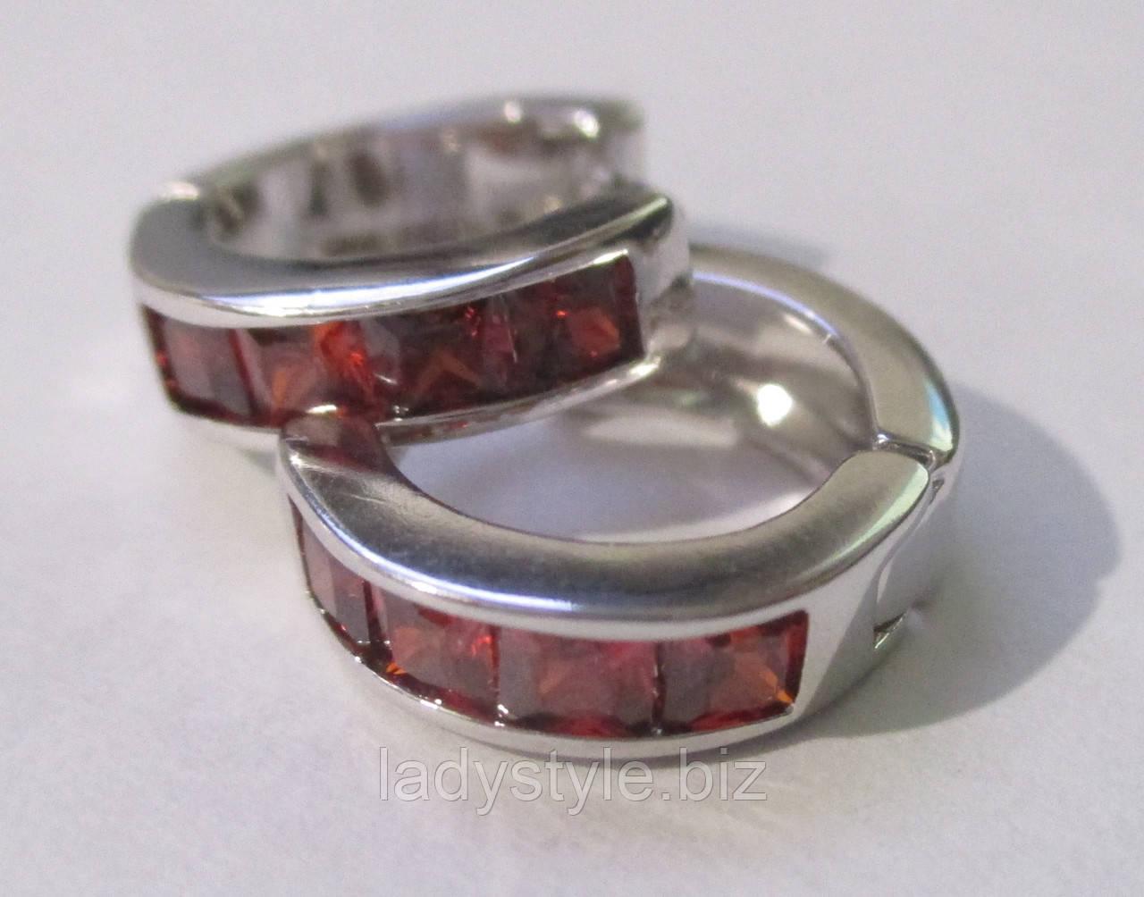 """Яркие серьги-кольца с красным фианитом """"Рубиновые"""" от студии LadyStyle.Biz"""