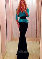 Платье в пол черно голубое с баской