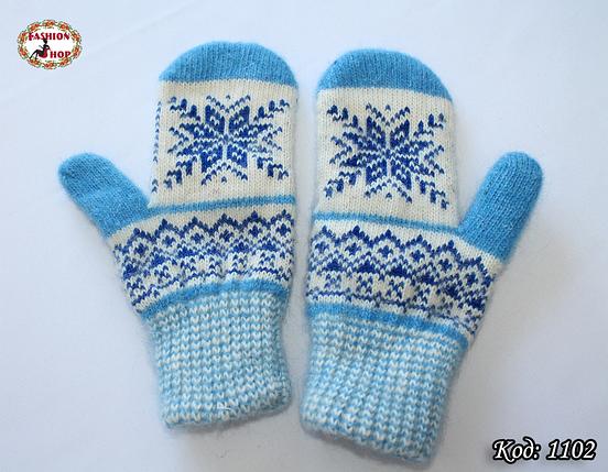 Женские шерстяные варежки Синие снежинки, фото 2