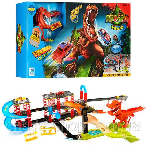 Трек 8899-92 (8шт) машинки 2шт, динозавр-звук(англ),на бат-ке(табл), в кор-ке, 71-34,5-8,5см