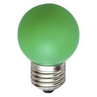 "Светодиодная лампа Feron LB37 Е27 1W типа G45 ""шар"" зелёная  для  декоративного освещения"