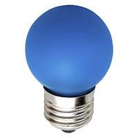 "Светодиодная лампа Feron LB37 Е27 1W типа G45 ""шар"" синяя для  декоративного освещения"