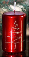 Свеча цилиндр пиния 50х80мм. 1шт. Цвет красный металлик
