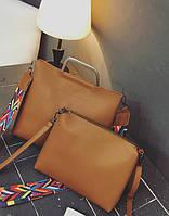 Набор женских сумок, сумка и клатч с железными ручками.