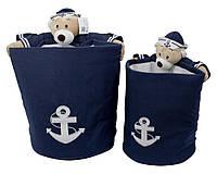 """Набор корзин для хранения игрушек """"Медведь-моряк"""", (2 в1)"""