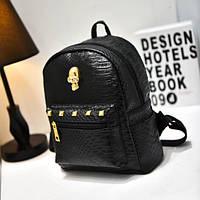 Черный женский рюкзак с черепом из кожзама под кожу питона, фото 1