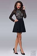 Платье женское талия завышенная, ц.черное,красное и марсала т.креп-дайвинг +кружевной гипюр аи №1281