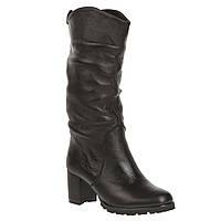 Полусапоги женские El Passo (кожаные, черные, на комфортном каблуке, на овчине)