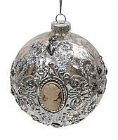 Елочные стеклянные шары с камеей, античное серебро, 8 см, 6 штук