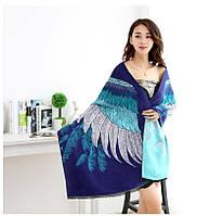 Сине-бирюзовый женский палантин с крыльями, фото 1