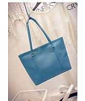Голубая большая женская сумка шоппер, фото 1