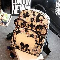 Черный городской рюкзак с ушками Микки Маус , фото 1