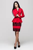 Костюм женский деловой Юнона с юбкой 46, красный