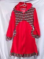 Женский велюровый халат с капюшоном, комбинированный из однотонного велюра и велюра в полоску, фото 1