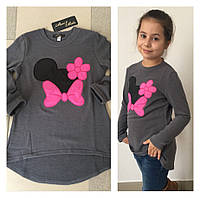 """Теплый детский джемпер-туника для девочки """"Mickey"""" с аппликацией (4 цвета)"""