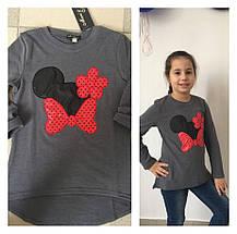 """Теплый детский джемпер-туника для девочки """"Mickey"""" с аппликацией (4 цвета), фото 2"""