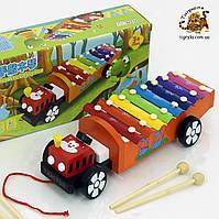 Деревянная игрушка ксилофон, металлофон каталка - Трактор, машина