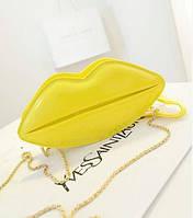 Желтая сумка-губы для девочки,кроссбоди