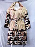 Женский велюровый халат с капюшоном, ткань в горошек с яркими кругами, фото 1