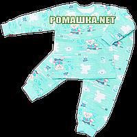 Детская байковая пижама для мальчика с начесом р. 92 ткань ФУТЕР 100% хлопок ТМ Алекс 3487 А Бирюзовый