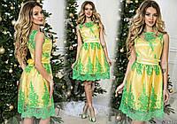 Нарядное желтое  платье с зеленым  гипюром на сетке, пояс со стразами. Арт-9326/65