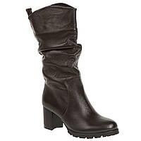 Сапоги - казачки женские El Passo (кожаные, темно-коричневые, на комфортном каблуке, стильные, удобные)