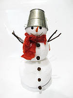 Новогодняя фигура Снеговик с ведром и шарфиком