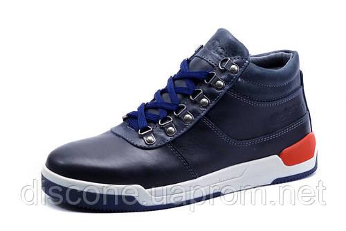 Зимние ботинки Gekon мужские, на меху, натуральная кожа, темно-синие