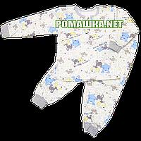 Детская байковая пижама для мальчика с начесом р. 92 ткань ФУТЕР 100% хлопок ТМ Алекс 3187 Голубой1
