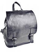 Женская кожаная сумка-рюкзак клапан-кроко Black