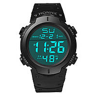 Наручные водостойкие часы HONHX Waterproof Men's Boy LCD Digital Stopwatch Date