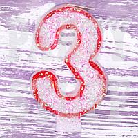 Свеча цифра для торта Красная 3