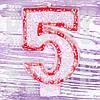 Свеча цифра красная 5