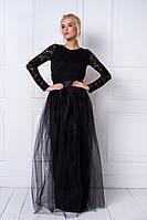 Стильное платье с открытой спиной в черном цвете