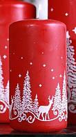 Свеча цилиндр зимний лес 50х80мм. 1шт. Цвет красный