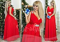Шикарное красное батальное длинное платье со стразами. Арт-9328/65