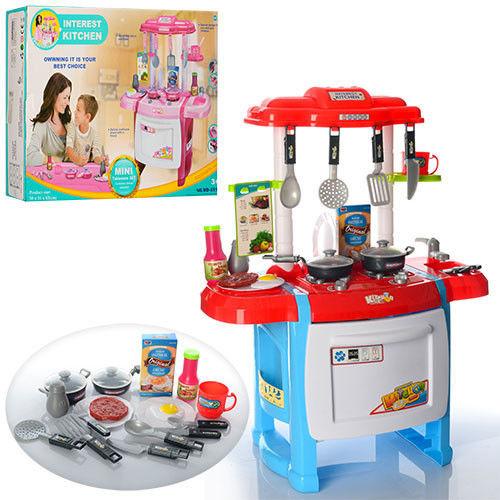 Детская кухня WD-B18 со звуком и светом красно-голубая (высота 63 см)