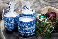 Свеча ароматическая зима 90х95мм. 1шт. Цвет синий