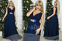 Шикарное синее  батальное длинное платье со стразами. Арт-9328/65