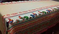 Скатерть льняная новогодняя рождественская с петушком 120*150; 150*180; 150*220