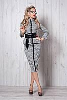 Красивый женский трикотажный костюм с вставками из эко-кожи