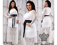 Гипюровое платье в пол - 11726