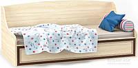 Стильная детская кровать односпальная с ламелями и ограничителями