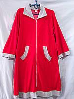Женский велюровый халат с отложным воротничком и аппликацией из мелких стразов на груди
