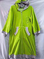 Женский велюровый халат с капюшоном и аппликацией из мелких стразов на груди