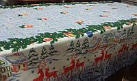 Скатерть льняная новогодняя рождественская с оленями 120*150; 150*180; 150*220