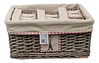 """Набор корзин из лозы для дома """"Paris"""" (4 в1), прямоугольные"""